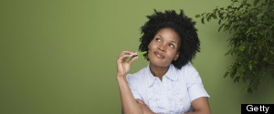 AFRICAN AMERICAN WOMAN GREEN BACKGROUND