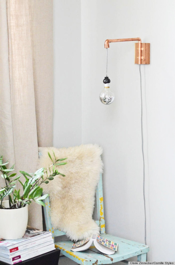 diy wall sconce. To activate the sconce manually plug the electric cord into the socket. & A DIY Wall Sconce Made From Copper Pipes Is The Perfect Industrial ...