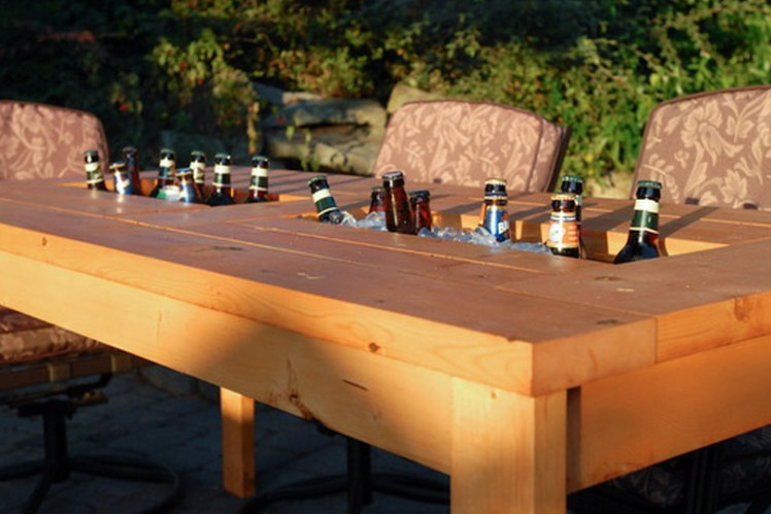 After see the picnic table picture from Medlock Ames' tasting room with the built in wine cooler we decided to incorporate this into our new patio table design.
