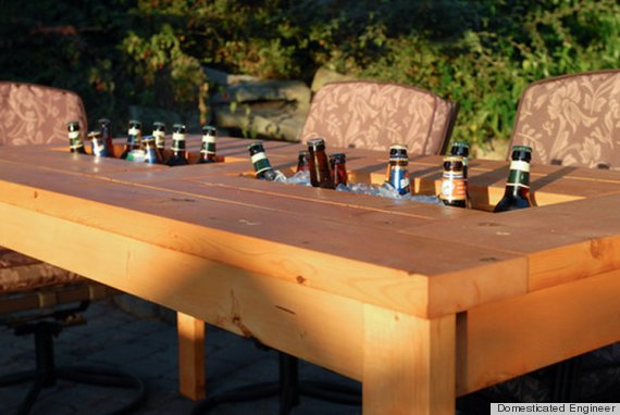 DIY Table With Built-In Drink Coolers Is The Perfect Way To Beat The ...