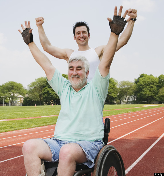 running with disabled person