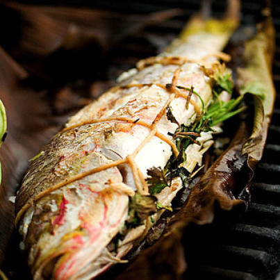 Get The Grilled Whole Fish On Banana Leaf Recipe From Steamy Kitchen