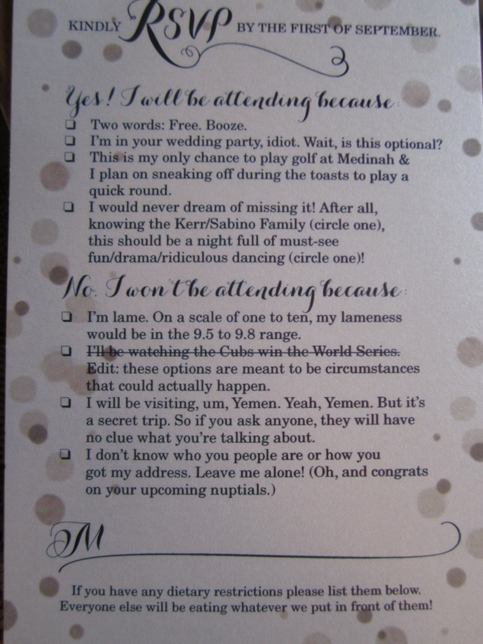 funny rsvp card shows off couple 39 s sense of humor photo