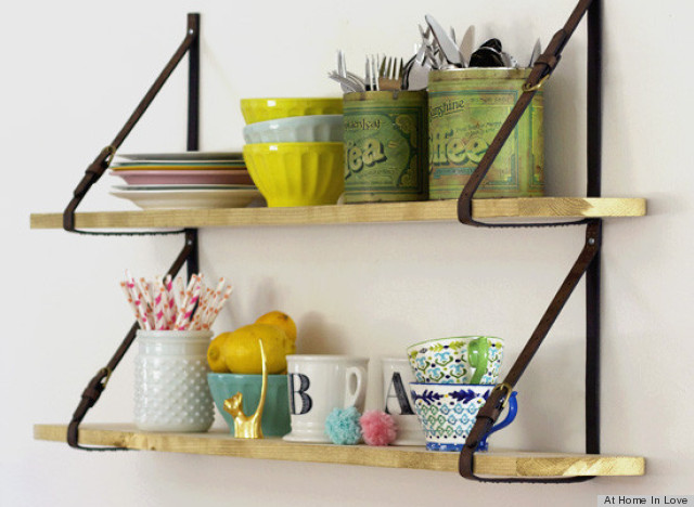 DIY Shelves Get A Unique Look Thanks To Belt Straps PHOTO HuffPost