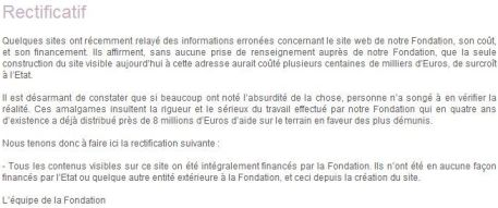 rectificatif de la fondation de carla bruni