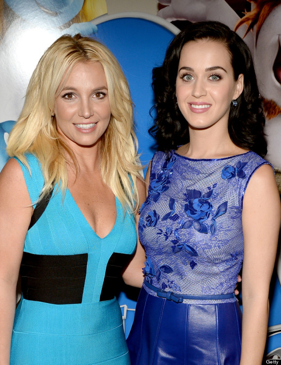 Awkward Moments Between Katy Perry And Britney Spears At 'Smurfs 2' Premiere (PHOTOS)