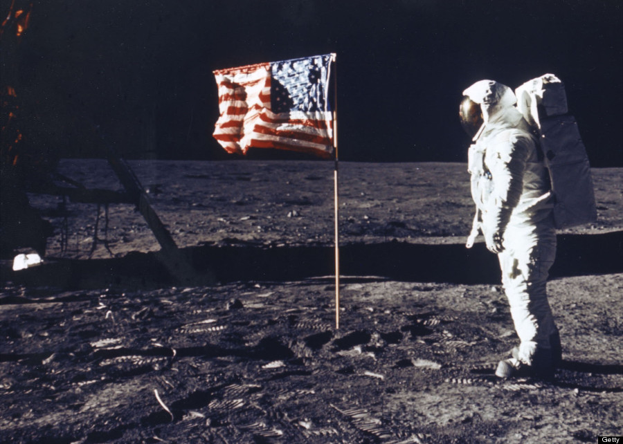nasa flag moon