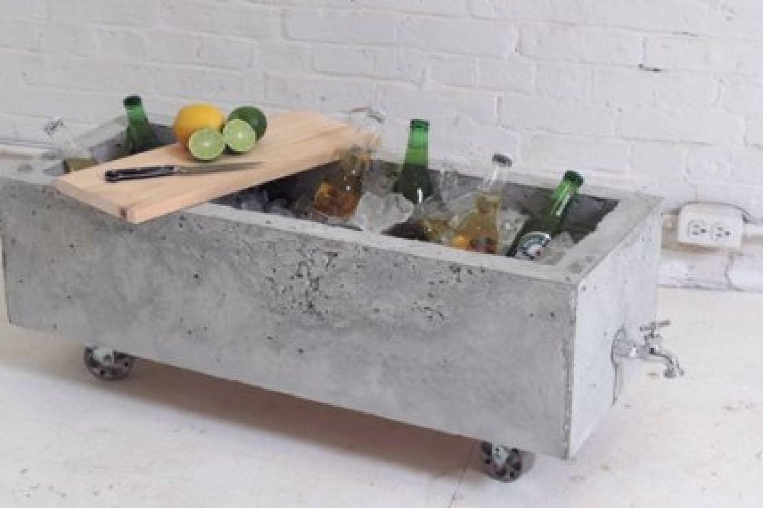 diy concrete planter doubles as an industrial chic drink