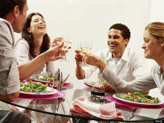 women laughing restaurant