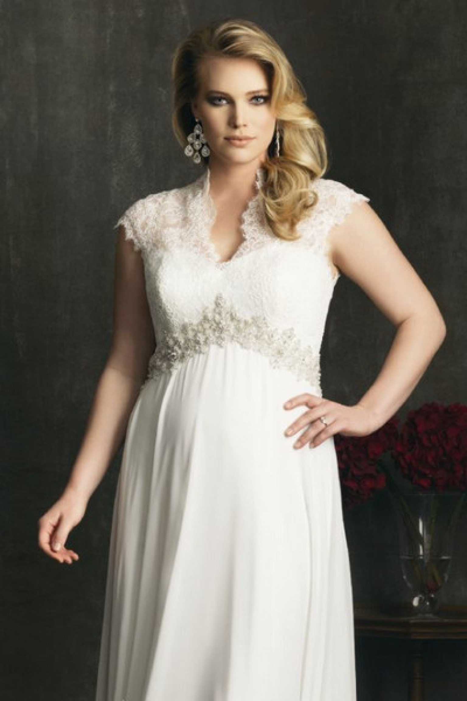 v neck plus size wedding ceremony dresses