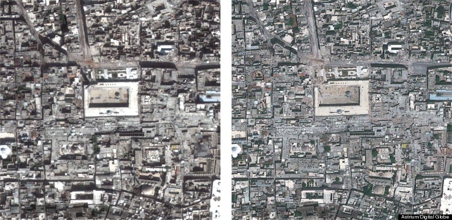 aleppo satellite images reveal destruction wrought by syria war photos huffpost. Black Bedroom Furniture Sets. Home Design Ideas