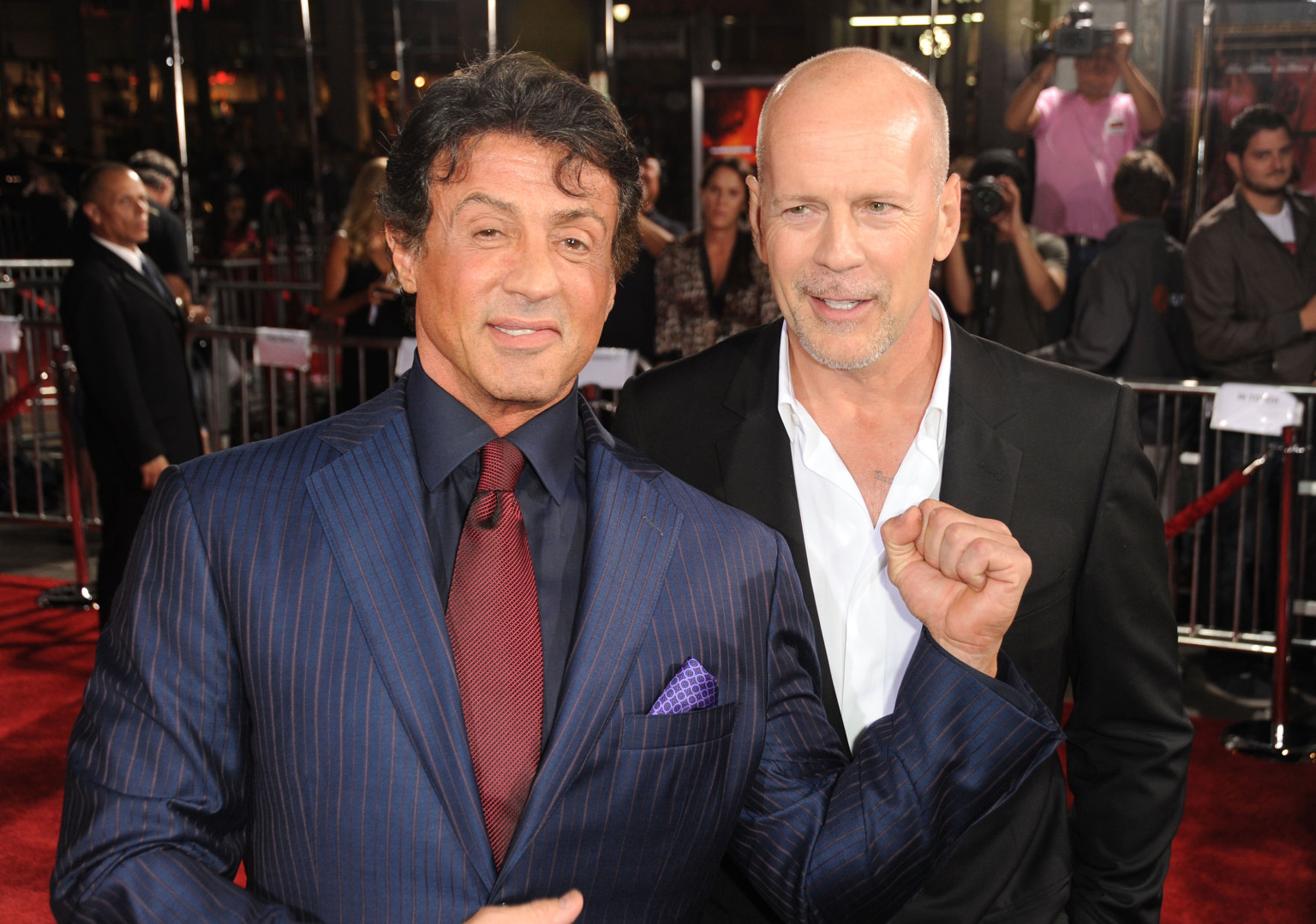 Photo of Bruce Willis & his friend actor  Sylvester Stallone - Longtime
