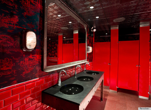 Mike diamond of the beastie boys designs wallpaper seen for Nightclub bathroom design
