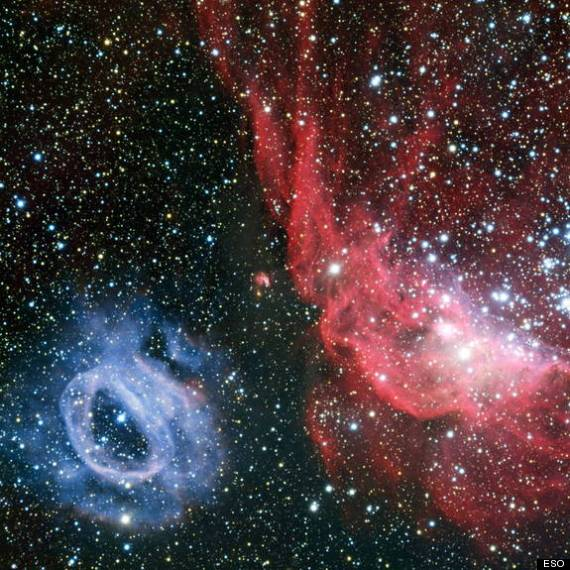 Space Clouds Shine Red Blue In Telescope Images Of Distant Galaxy Photos Huffpost
