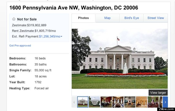 White house would cost 319 802 889 according to zillow for How much a mansion cost