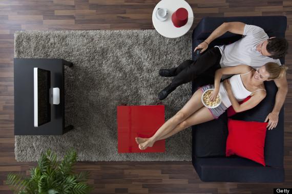 couple eating sofa