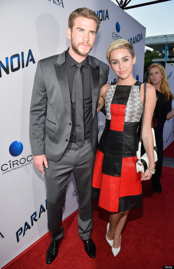 Miley Cyrus & Liam Hemsworth Arrive At 'Paranoia' Premiere ...