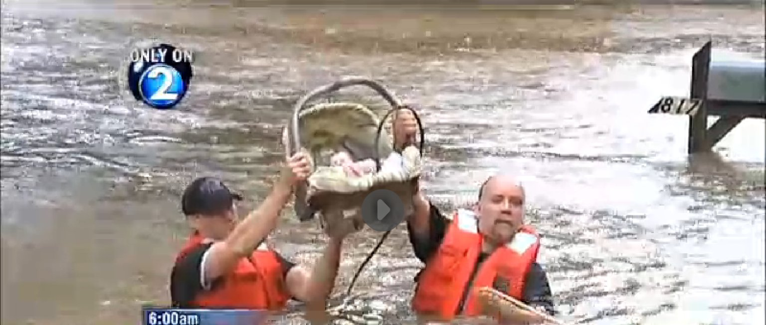 Baby Carried Through Waist High Water Rescued In
