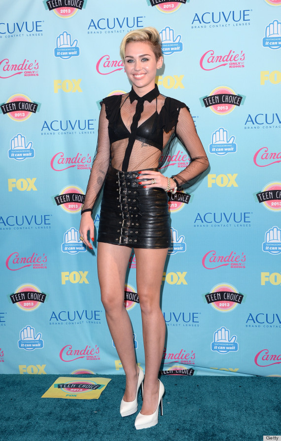 Miley Cyrus\' Teen Choice Awards Outfit Is Saint Laurent Bondage ...