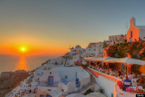 greek town sunset