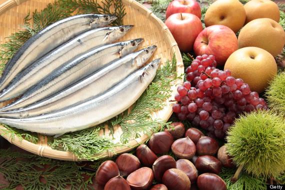 fruit nuts fish
