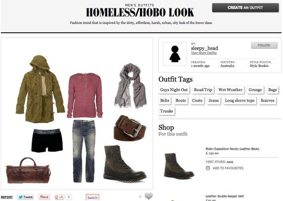 homeless hobo look