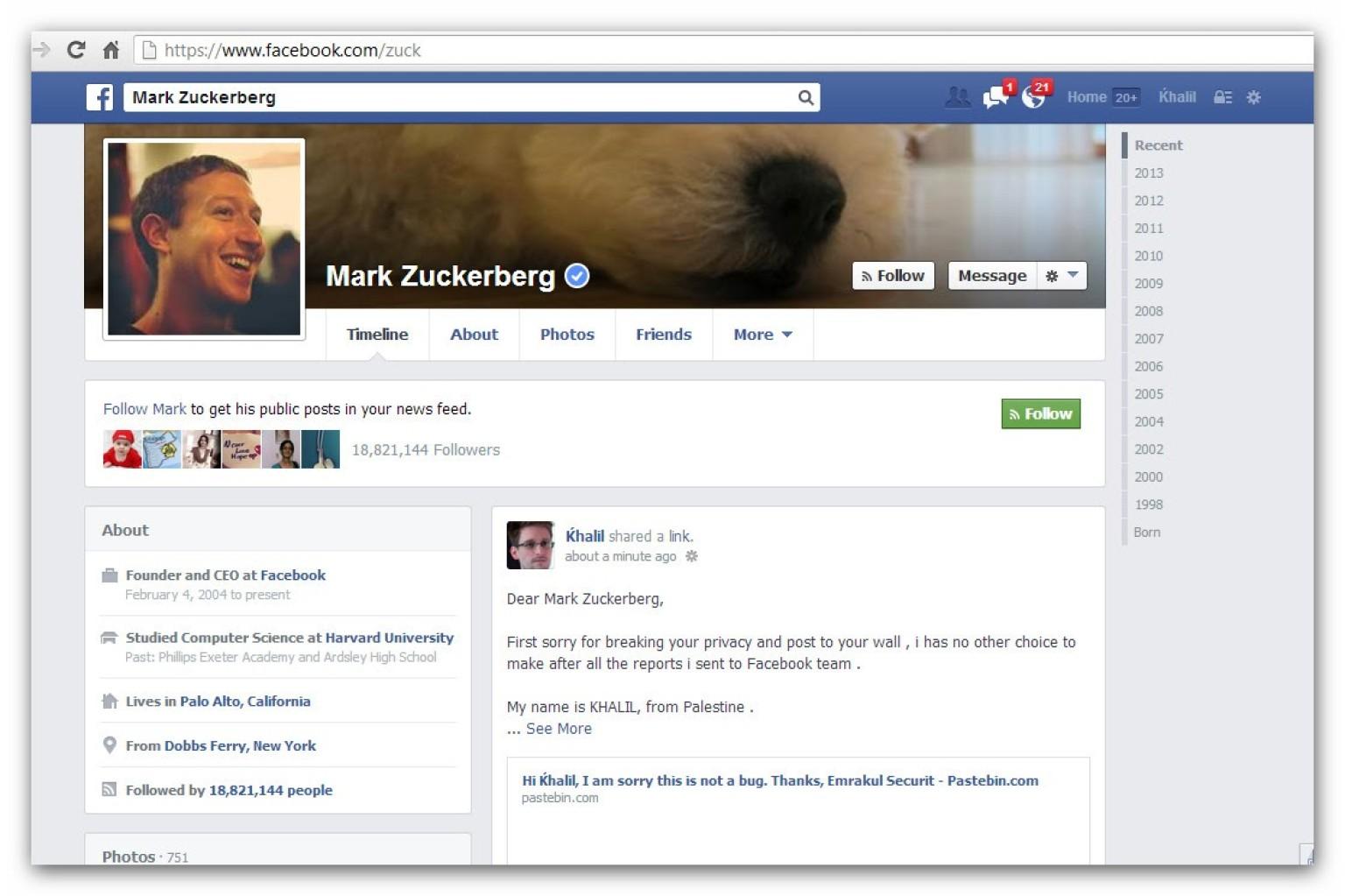 facebook un hacker pirate le mur de mark zuckerberg pour faire part d 39 un bug sur le r seau social. Black Bedroom Furniture Sets. Home Design Ideas