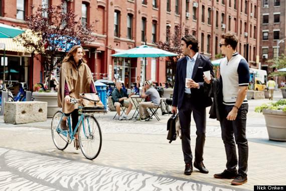 woman cyclist two men