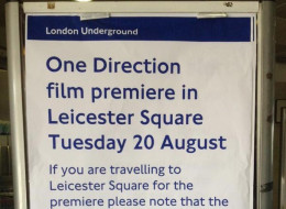PICTURE: London Underground Poster Warning About One Direction Premiere