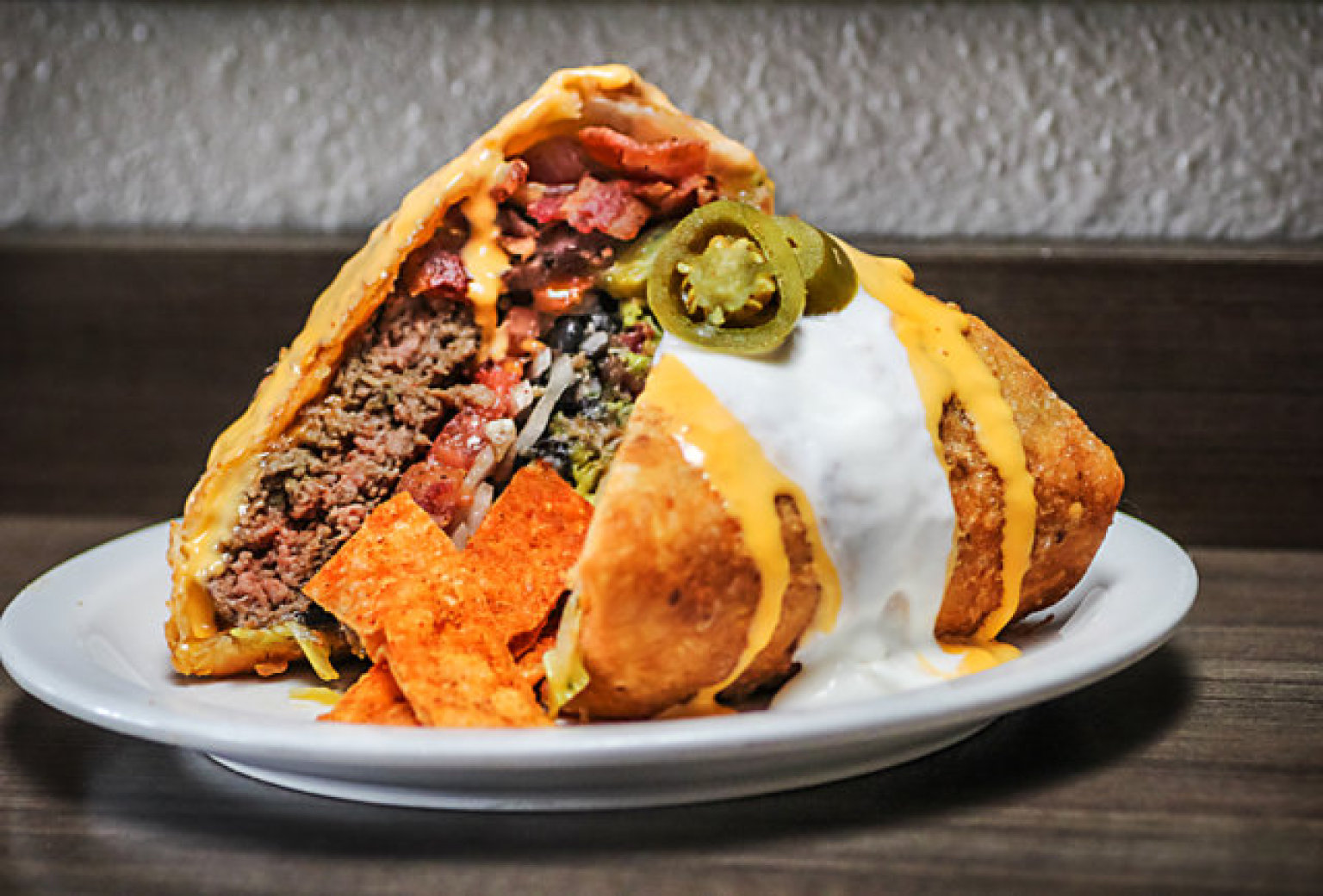 Behold This Deep-Fried Supreme Nacho Burger | HuffPost
