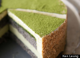 Green Tea-Black Sesame Mousse Cake