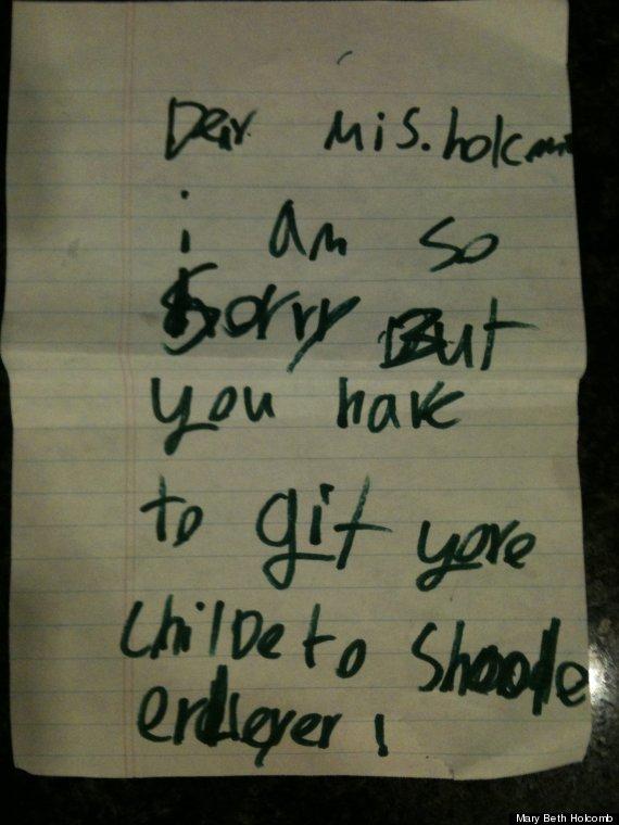 cute kid note lateness