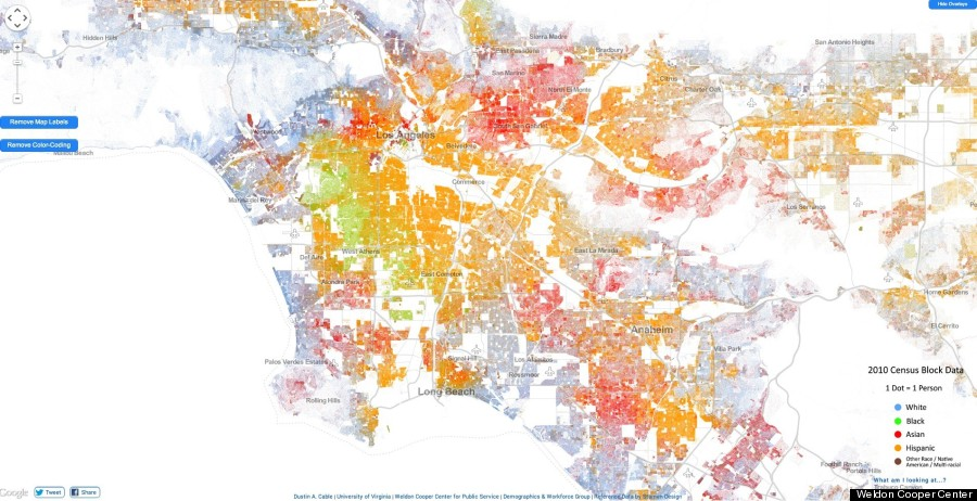 Worksheet. Racial Dot Map In LA Highlights Segregation By Neighborhood  HuffPost