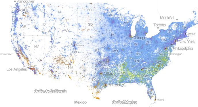 Incredibly Detailed Map Shows Race Segregation Across America In - Detailed map of us