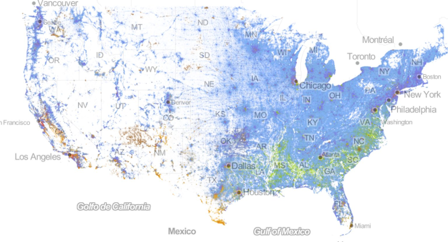 Incredibly Detailed Map Shows Race Segregation Across America In Beautiful C