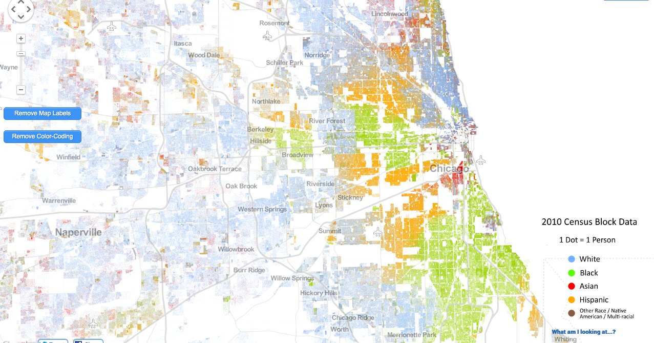 Incredibly Detailed Map Shows Race Segregation Across America In - Is there a color coded map of us crime
