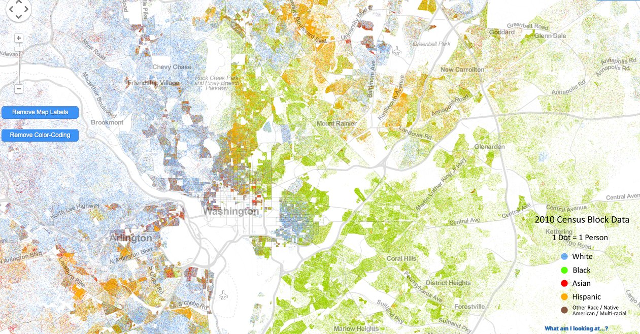 Incredibly Detailed Map Shows Race Segregation Across America In - Washington dc map of america