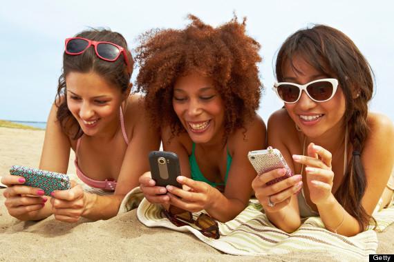 beach cellphone