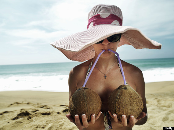drinking from coconut