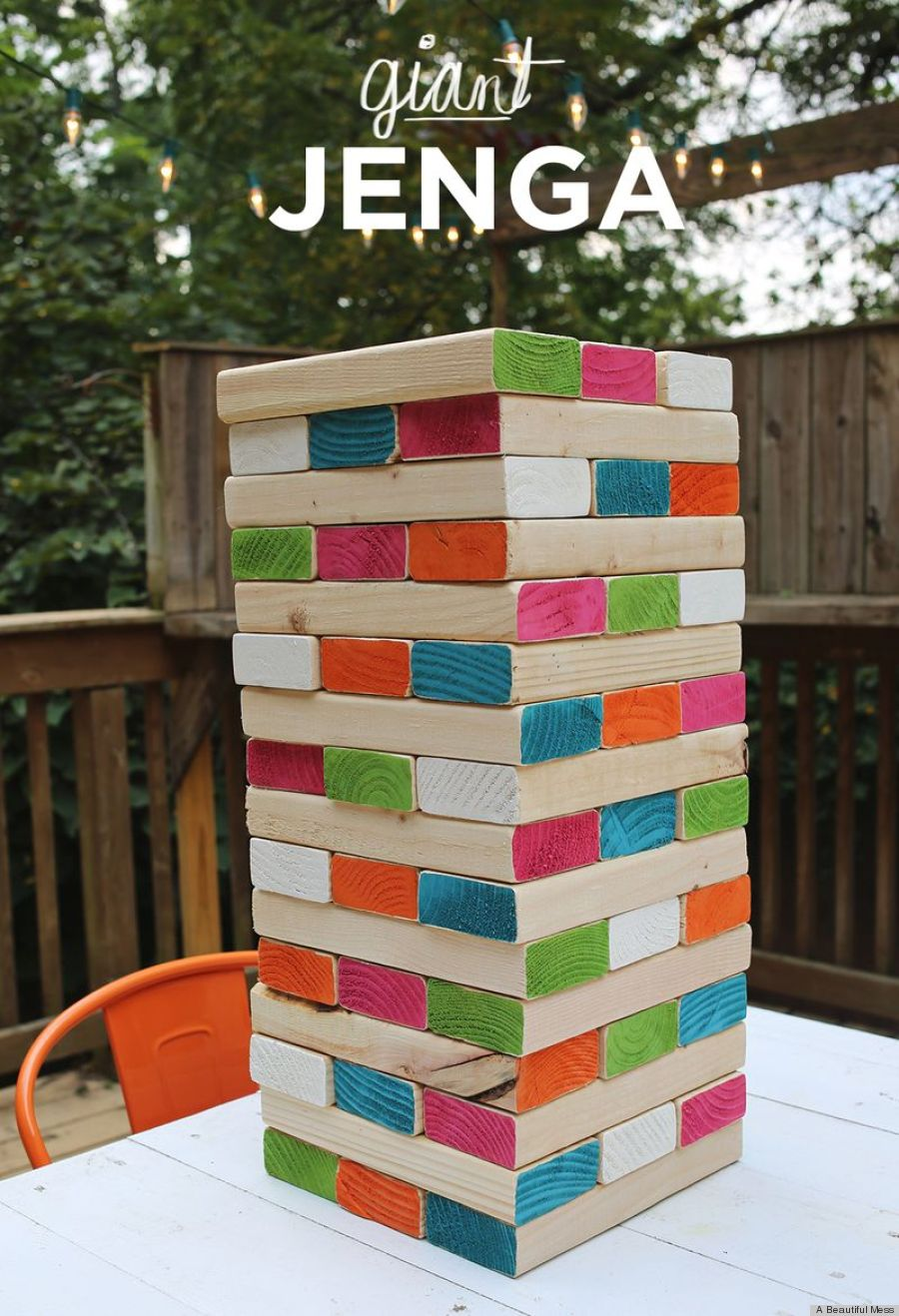 Diy giant jenga is the coolest backyard game ever photo for Diy party games for adults