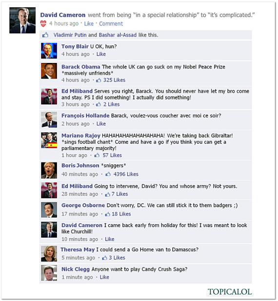 david cameron facebook spoof
