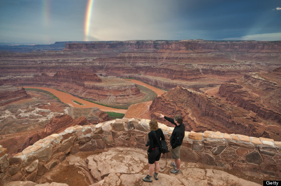 person viewing rainbows