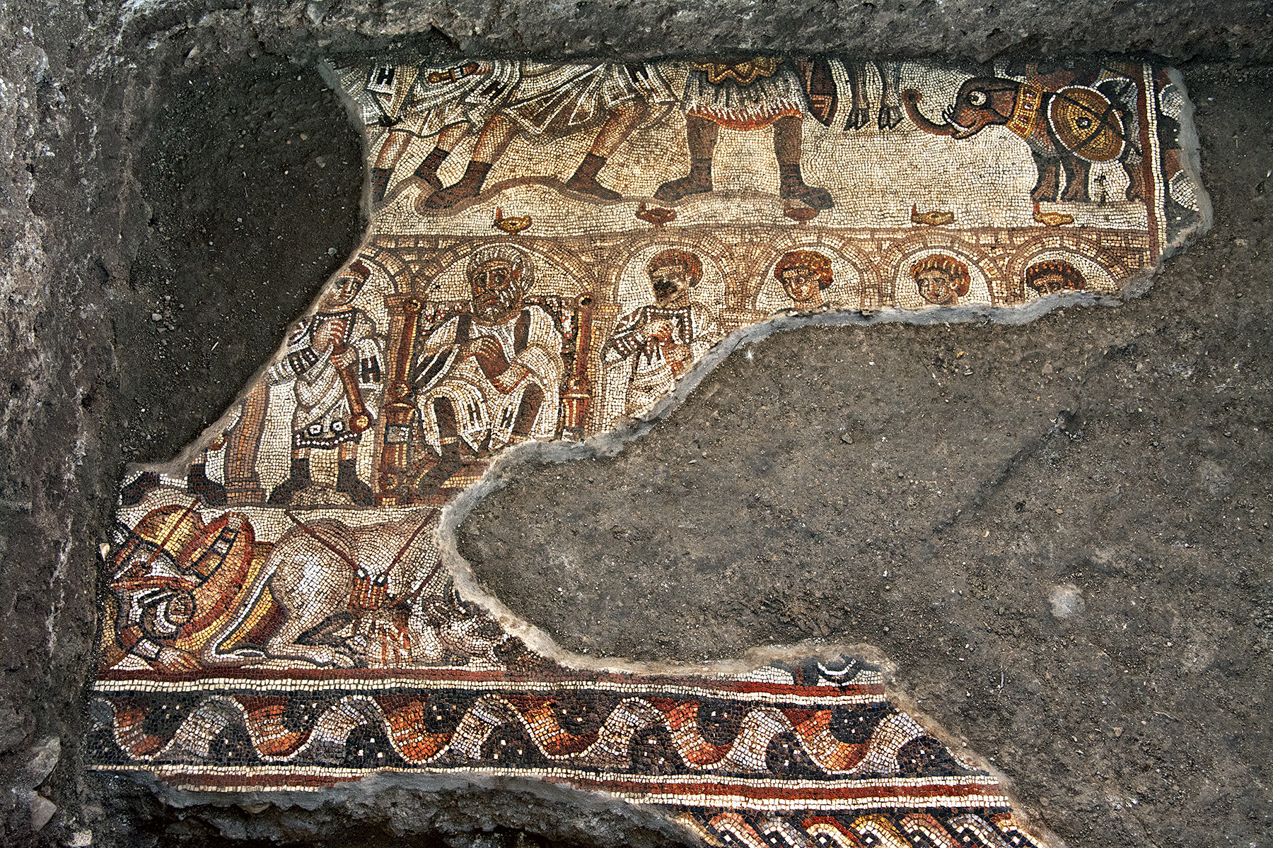 Ancient mosaic depicting biblical hero Samson unearthed