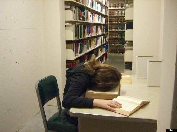 people asleep in libraries
