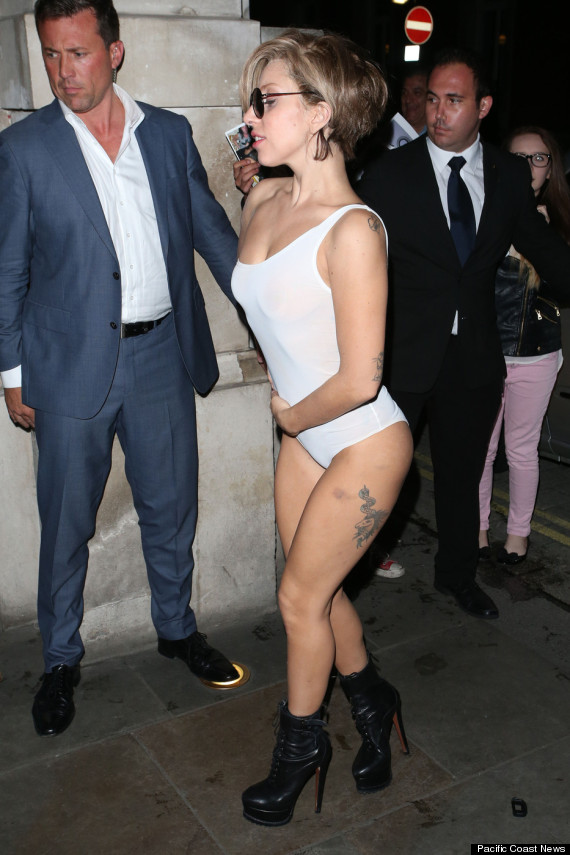 Lady Gaga Wears Sheer Leotard Skips Pants In London
