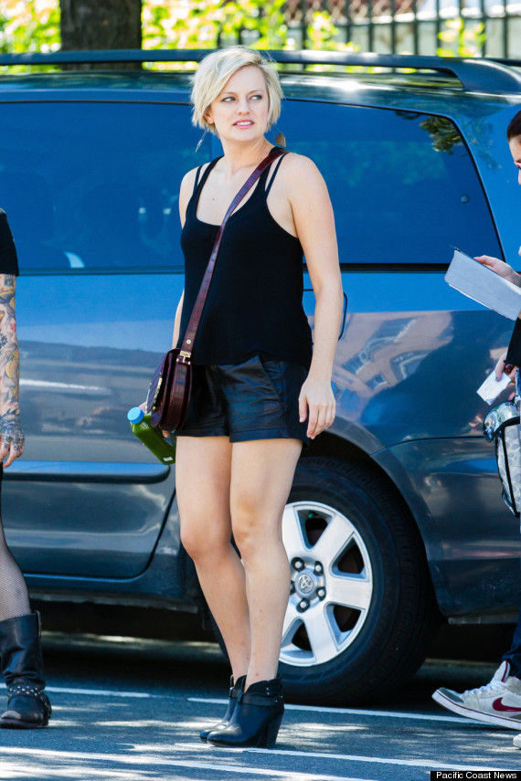elisabeth moss leather shorts