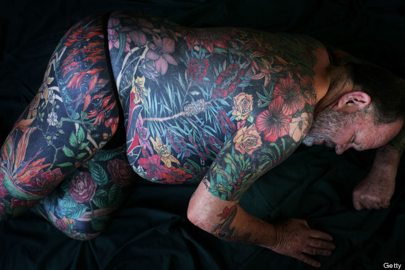 Head to toe body tattoos make clothing optional huffpost for Tattoos on old skin