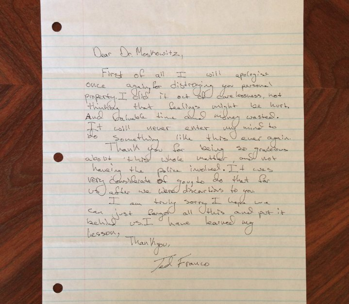 Apology Letter From A Teenage James Franco Resurfaces Years After