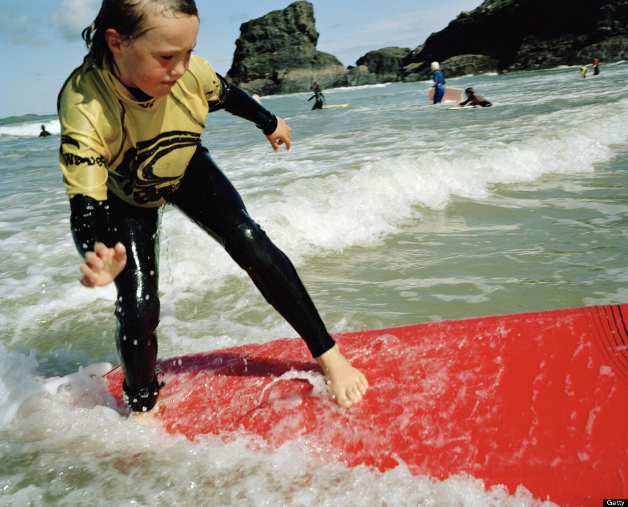 child surfing