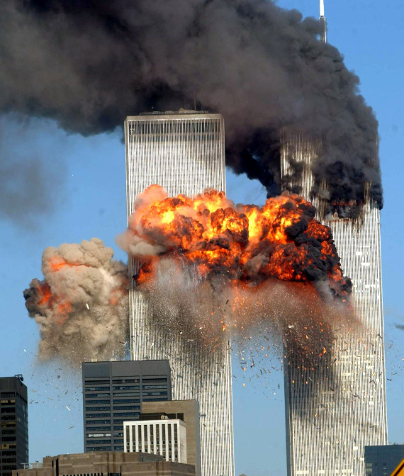 world trade center tower explodes